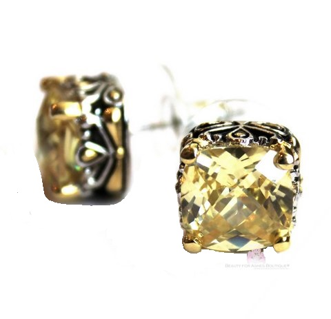 Canary Yellow Cz Checker Cut Two Tone Throne Room Earrings