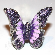 BUTTERFLY FAVE ENAMEL PURPLE LAVENDER CZ RING