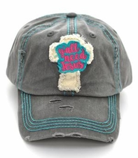 Charcoal Gray Y'all Need Jesus Distressed Cap Hat
