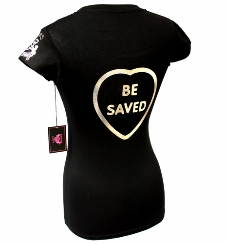 Beauty for Ashes Choose Jesus Be Saved Black Silver Foil Cap Sleeve T Shirt