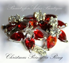 CHRISTMAS POINSETTIA RUBY CLEAR CZ RING JEWELRY FLOWER