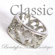 CLASSIC RING SCROLL SCROLLED CLEAR CZ FILIGREE BAND