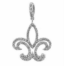 Clear Cubic Zirconia Fleur de Lis Pendant or Necklace