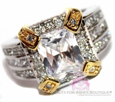 Clear Cz Two Tone Fancy Cocktail Creation Ring
