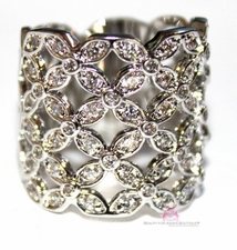 COUNTRY LATTICE LACE FLORAL WIDE RING BAND