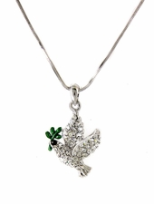 Crystal Dove with Olive Branch Holy Spirit Necklace