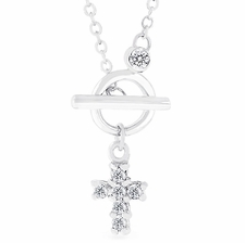 Dainty Delicate Ring & toggle Miniature Cross Necklace