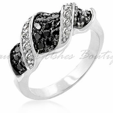 DESIGN JET BLACK CLEAR CZ RHODIUM TWIST RING SZ 6 7 8 9