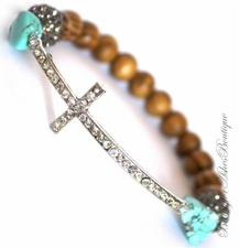 Divine Destiny Turquoise Crystal Cross Wood Beaded Bracelet