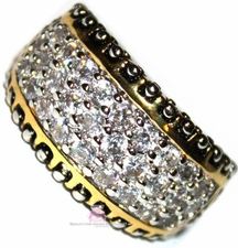 Dot Mini Pave Clear Cz Two Tone Band Ring Size 6