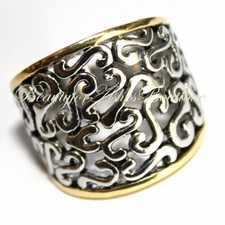 FILIGREE SCROLL TWO TONE WIDE BAND RING