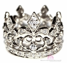 Fleur de Lis Clear Pave CZ Crown Queen Royalty Ring