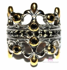 Fleur de Lis Double Kings Crown Two Tone Majesty Black Cz Ring