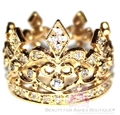 Fleur de Lis Royalty Princess Gold Plated Crown of Life Ring