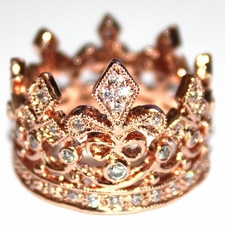 Fleur de Lis Royalty Princess Rosegold Crown of Life Ring