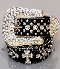 GENUINE LEATHER CROSS BELT RHINESTONE CRYSTAL STUDS M