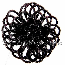GIANT FLOWER BLACK BEADED BOLERO STRETCH RING