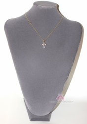 Girls Womens Baguette Cz 14K Gold Plated Cross Necklace