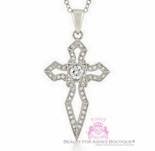 Girls Womens Sword Cz White Gold Bonded Faith Cross Necklace