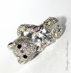 GIRLS WOMENS TEDDY BEAR PAVE CLEAR CZ RING