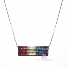 Gods Promise Rainbow Cubic Zirconia CZ Triple Row Bar Necklace