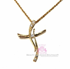 Gold Plated Curved Cross Clear Cz Accent Necklace