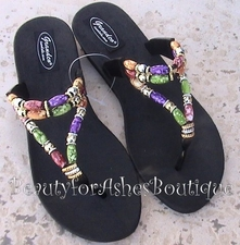 GRANDCO BEACH POOL WATERPROOF BLACK MULT BEADED SANDALS Size 7