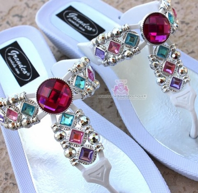 Grandco Pink Multi Color Bohemian Jeweled White Sandals