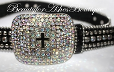 JET BLING CROSS BELT BUCKLE AURORA BOREALIS CRYSTALS ML