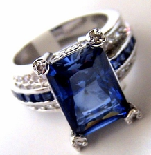 JEWELRY COCKTAIL SAPPHIRE BLUE and CLEAR LA JOLLA CZ RING