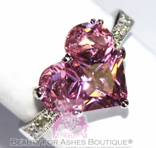 JEWELRY PINK HEART RING VALENTINE CLEAR MINI CZ RHODIUM