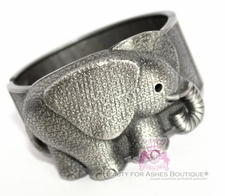 Cute Rustic Metal Finish Elephant Hinged Cuff Bracelet