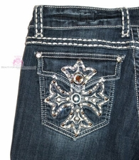 L.A. IDOL BLUE DENIM JEANS JEWELED CROSS POCKETS