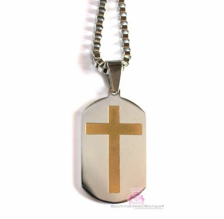 """L MENS STAINLESS STEEL 14KGP CROSS DOG TAG NECKLACE 24"""""""