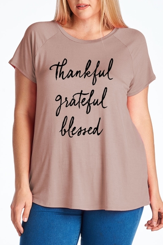 Ladies Plus Size Thankful Grateful Blessed Mocha T-Shirt