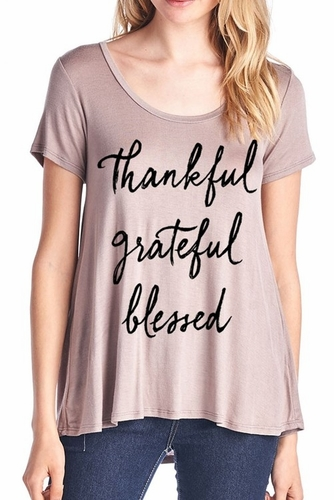 Ladies Thankful Grateful Blessed Mocha T Shirt
