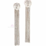 Lion of Judah Head Fringe Post Drop Dangle Earrings - Silvertone