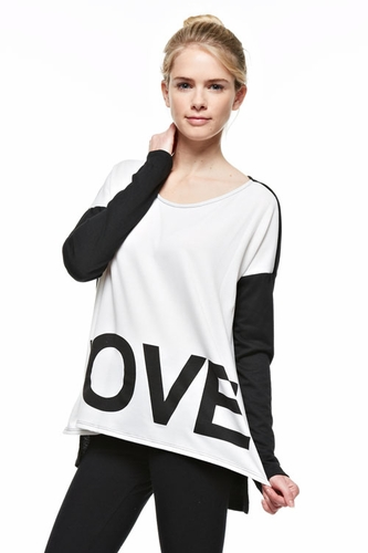 Love Long Sleeve Black & Ivory Fashion Top