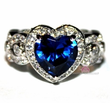 Love Beauty for Ashes� Heart for Jerusalem Sapphire Blue Cz Ring