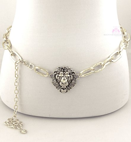 Magnificent Roaring Lion of Judah Ladies Chain Link Belt - Silver