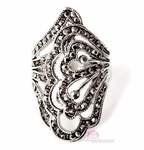 Marcasite Stone Elegant Elongated Filigree Scroll Ring