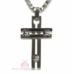 MENS STAINLESS STEEL ART DECO CROSS PENDANT NECKLACE