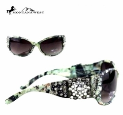 Montana West Sage Green Crystal Rhinestone  Embellished Sunglasses