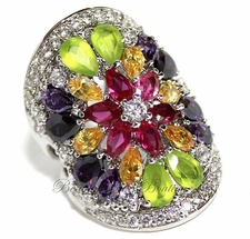 MULTI CITRINE ROSE AMETHYST CLEAR CZ FLOWER RING