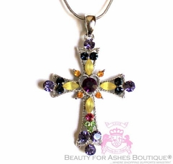 Multi-Color CROSS NECKLACE with Austrian Crystal Silver