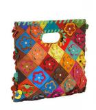 Multi-Color Flower Patchwork Handbag Purse