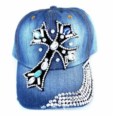 Multi Colored Crystal Embedded Cross Distressed Denim Baseball Cap