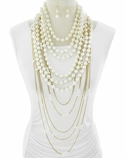 Multi Layered Strands of Faux Pearls in Gold Tone Necklace