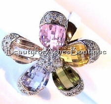 OUTSTANDING GIANT PETALS MULTI CZ FLOWER RING WOW!