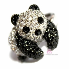 Panda Teddy Bead Cute Black White Cubic Zirconia Ring
